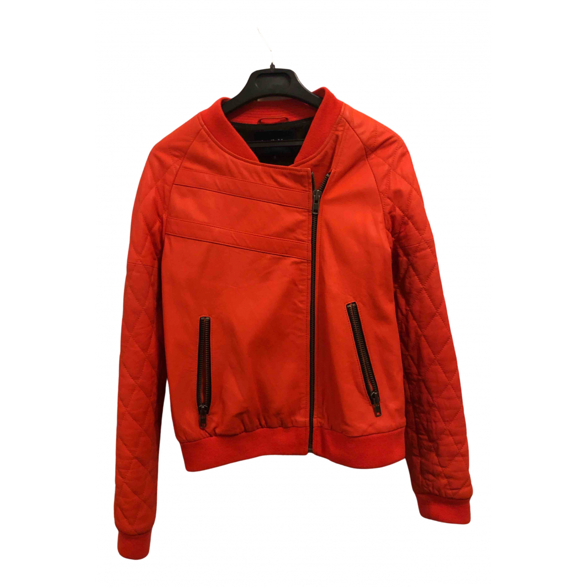 April May \N Orange Leather Leather jacket for Women 36 FR