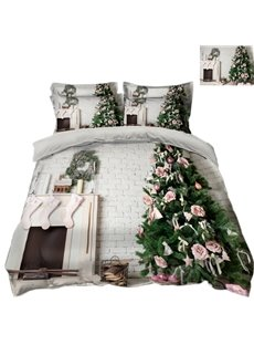 Christmas Tree with Bow and Stove Printed 3D 4-Piece Bedding Sets/Duvet Covers