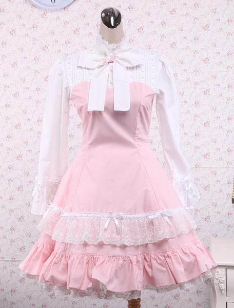 Milanoo Cotton Pink And White Lace Classic Lolita Dress