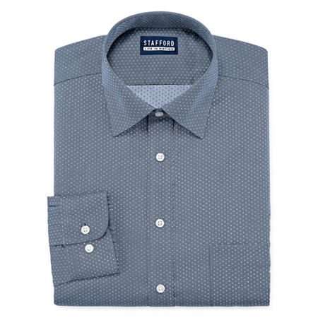 Stafford All Season Cool Max Mens Point Collar Long Sleeve Stretch Cooling Moisture Wicking Dress Shirt Big And Tall, 19-19.5 38-39, Blue