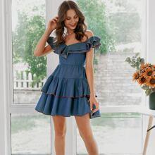 Ruffle Trim Layered Hem Bardot Denim Dress