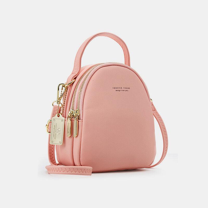 Women Multi-carry Earphone Hole Multi-Layers Crossbody Bag Handbag Backpack