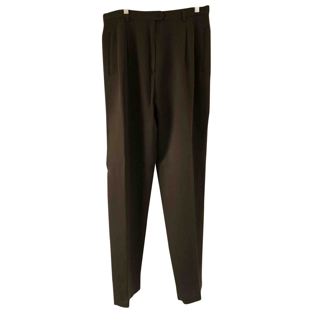 Emporio Armani \N Brown Wool Trousers for Women 48 IT