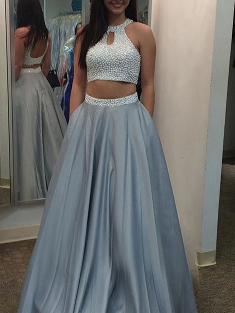 Ericdress Pearl Scoop Neck Two Pieces Long Prom Dress