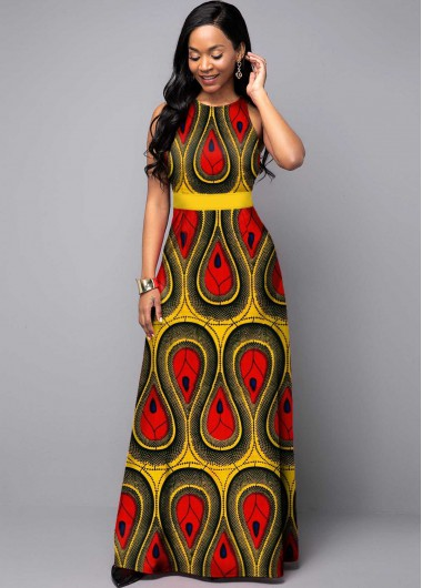 Women'S Yellow Tribal Print Sleeveless Round Neck Maxi Dress High Waisted Casual Vacation Dress By Rosewe - 10