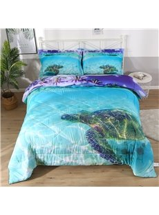 Turtle In The Blue Limpid Ocean Printed 3-Piece Comforter Sets