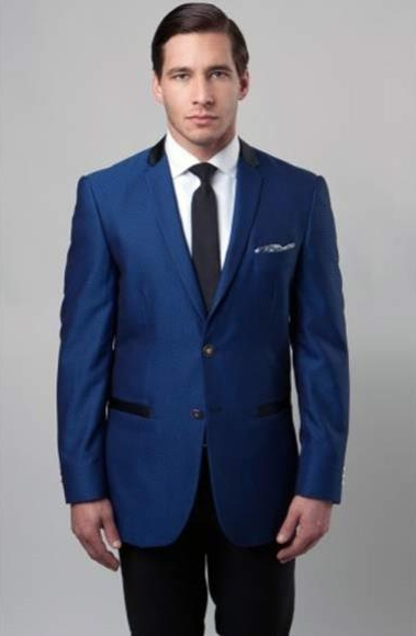 Mens Dark Blue Slim Fit Poly Rayon 2Button Notch Single Side Vent Suit
