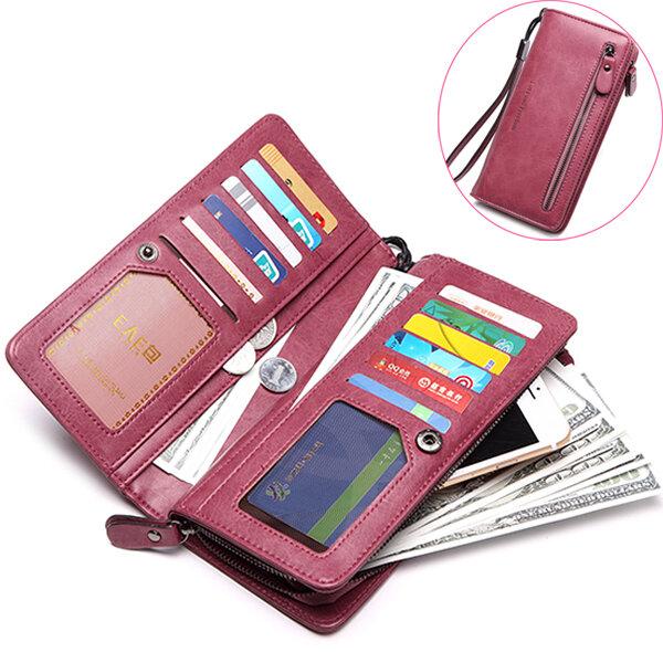 Stylish PU Leather Long Wallet Card Holder Coins Bag Zipper Purse