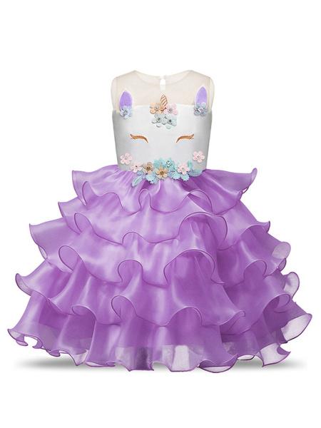 Milanoo Unicorn Dresses Little Girls Ruffles Halloween Costume Kids Party Dress With Headpieces
