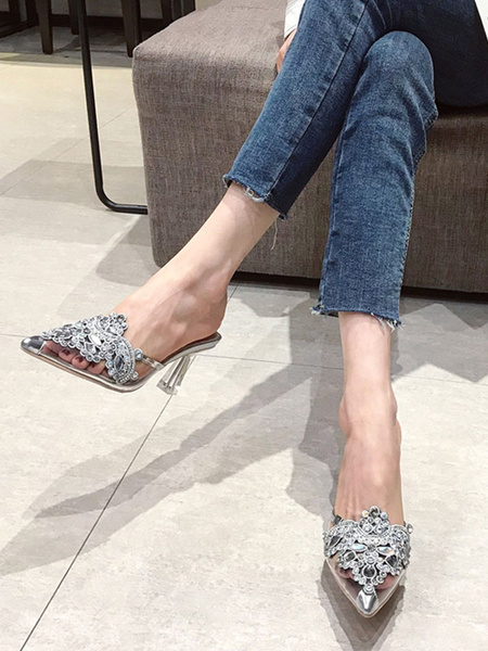 Milanoo Mules & Clogs Mesh Blond Rhinestone Chic Modern Pointed Toe Shoes