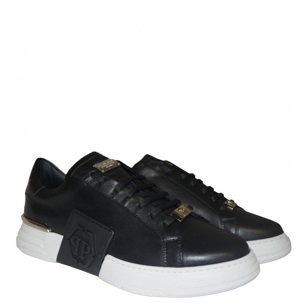 Philipp Plein PHANTOM KICK$ LO-TOP LEATHER Colour: BLACK, Size: 8