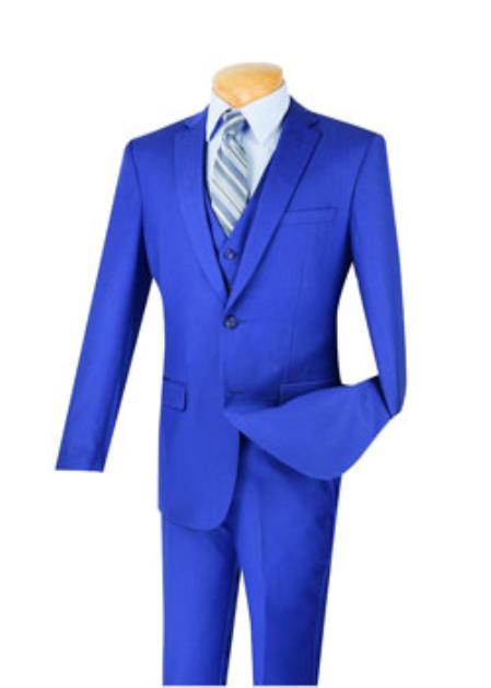 Men's Indigo 3 Piece 1 Wool Executive Suit - Narrow Leg Pants