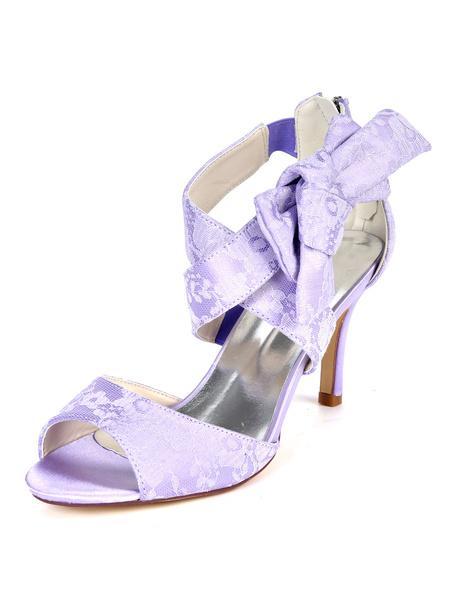 Milanoo Womens Wedding Shoes White Lace Criss-Cross Stiletto Heel Bridal Shoes