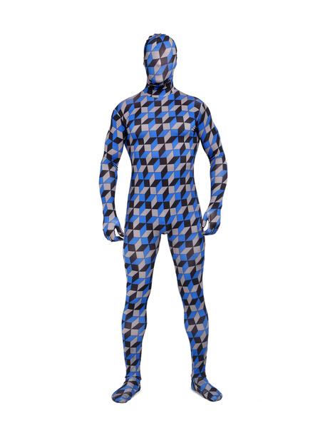 Milanoo Morph Suit Multicolor Plaid Zentai Suit Full Body Lycra Spandex Bodysuit