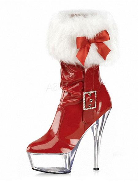 Milanoo Xmas Sexy Boots Red Platform Fur Trim High Heel Boots