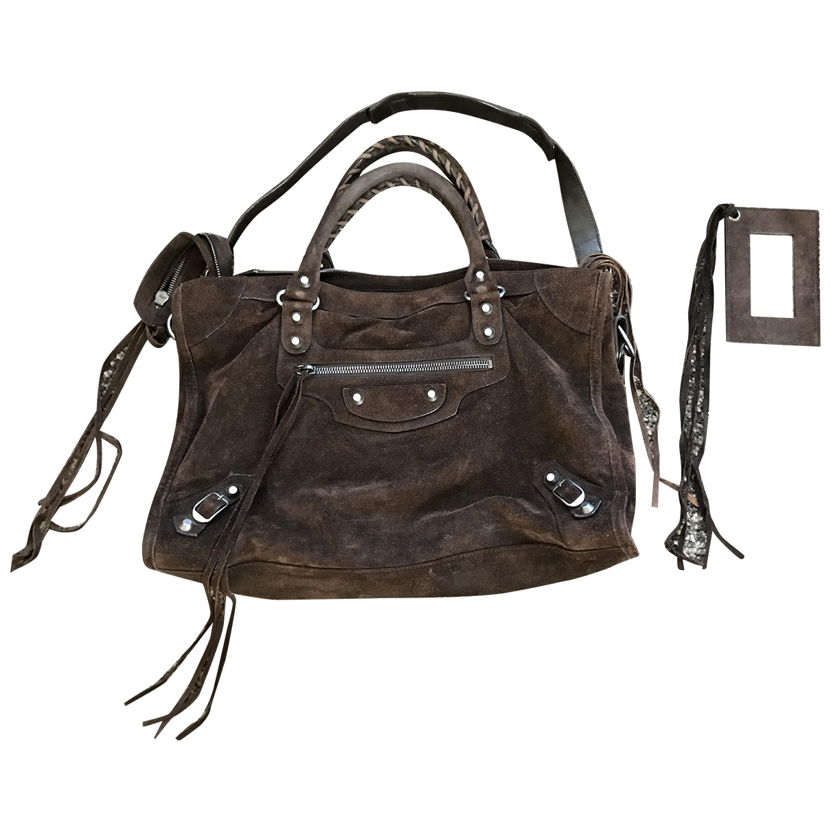 Balenciaga City Brown Suede handbag for Women \N