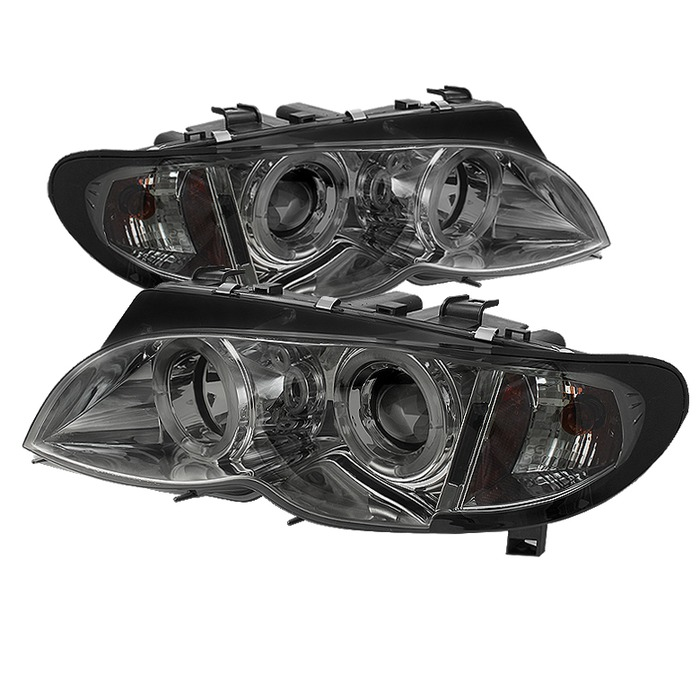 Spyder Auto PRO-YD-BMWE4602-4D-AM-SM 1PC Smoke LED Halo Projector Headlights with High H1 and Low H7 Lights Included BMW E46 330Ci 4Dr 02-05