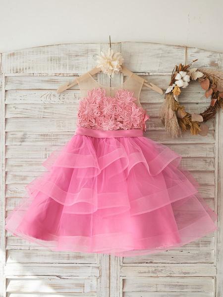 Milanoo Flower Girl Dresses Jewel Neck Sleeveless Sash Kids Social Party Dresses