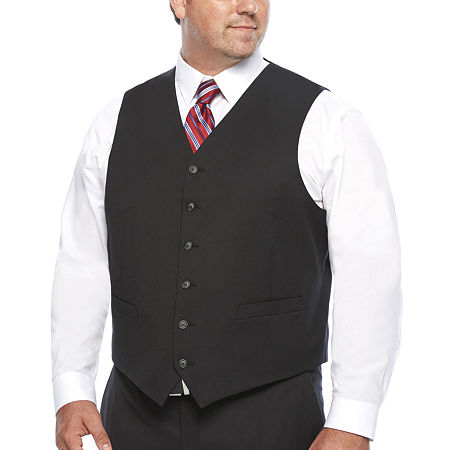 Stafford Travel Wool Blend Stretch Suit Vests Big and Tall, 2x-large , Black