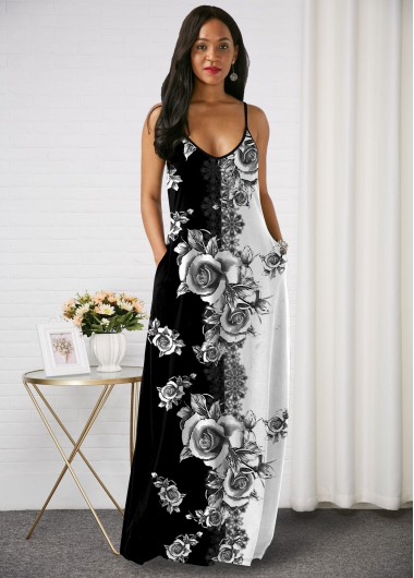 Rosewe Women Black Sleeveless Straight Bohemian Maxi Cocktail Party Dress With Side Pockets Floral Printed Spaghetti Strap Maxi Elegant Casual - XL