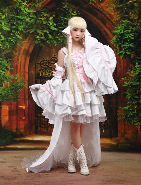 Milanoo Chobits Chii Halloween Cosplay Costume White Lolita Dress Halloween