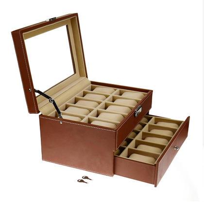 Verrouillable en cuir boîte de rangement organisateur de bijoux en verre Top Brown - SortWise ™