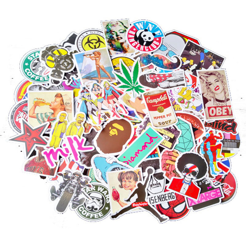100Pcs Vinyl Laptop Stickers For Car Motorcycle Bicycle Luggage Graffiti Patches Skateboard Wall