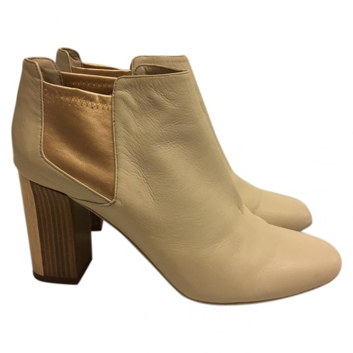 Véronique Branquinho \N Ecru Leather Ankle boots for Women 40 EU
