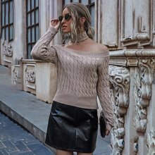 Cable Knit Crop Sweater With Choker
