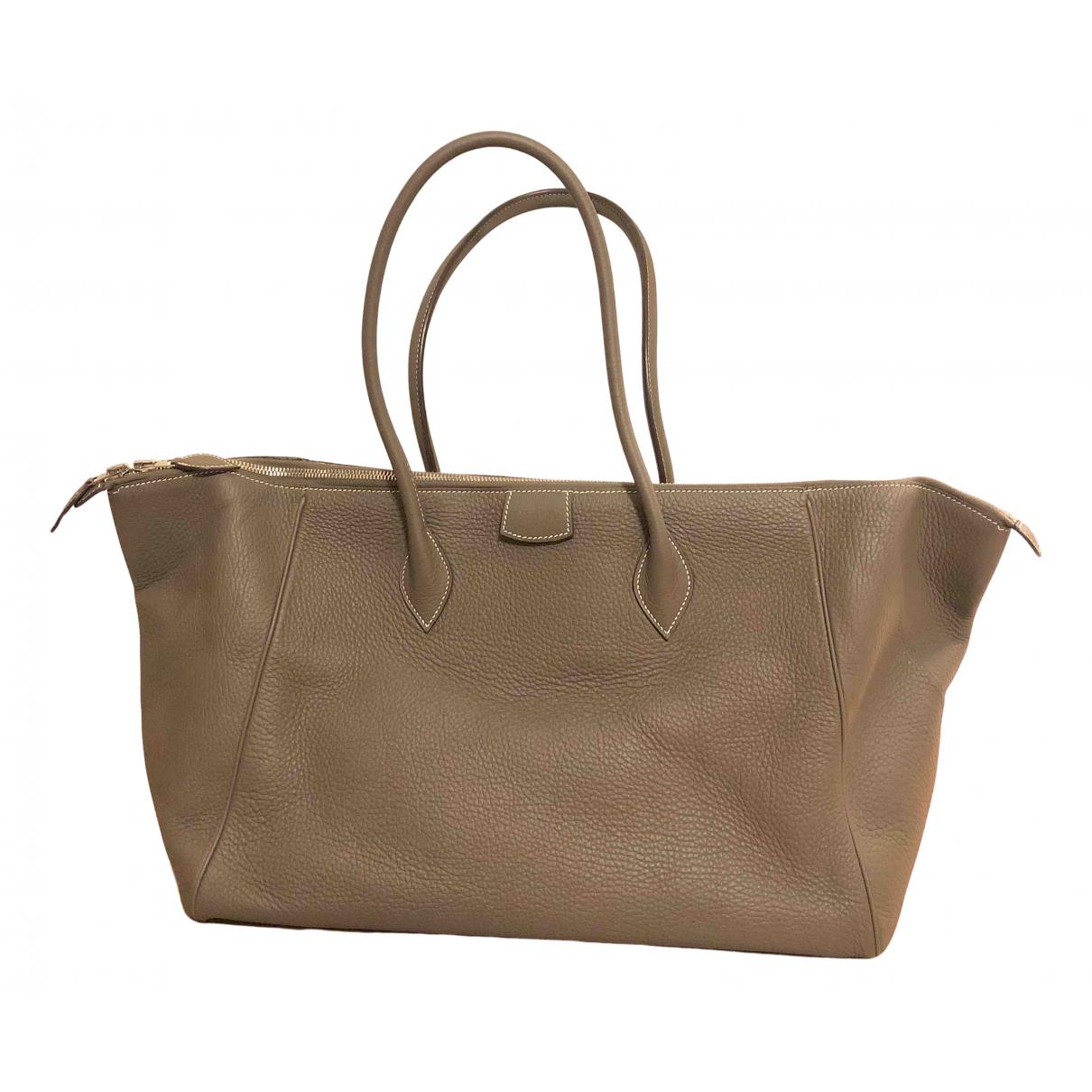 Hermès \N Grey Leather bag for Men \N