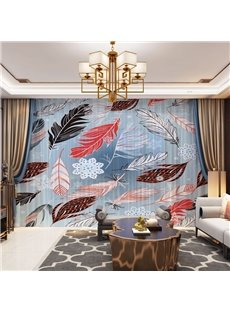 3D Colorful Feather Printed Decorative 2 Panels Custom Sheer
