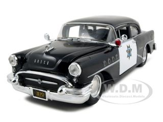 1955 Buick Century Police Car Black and White 1/26 Diecast Model Car by Maisto