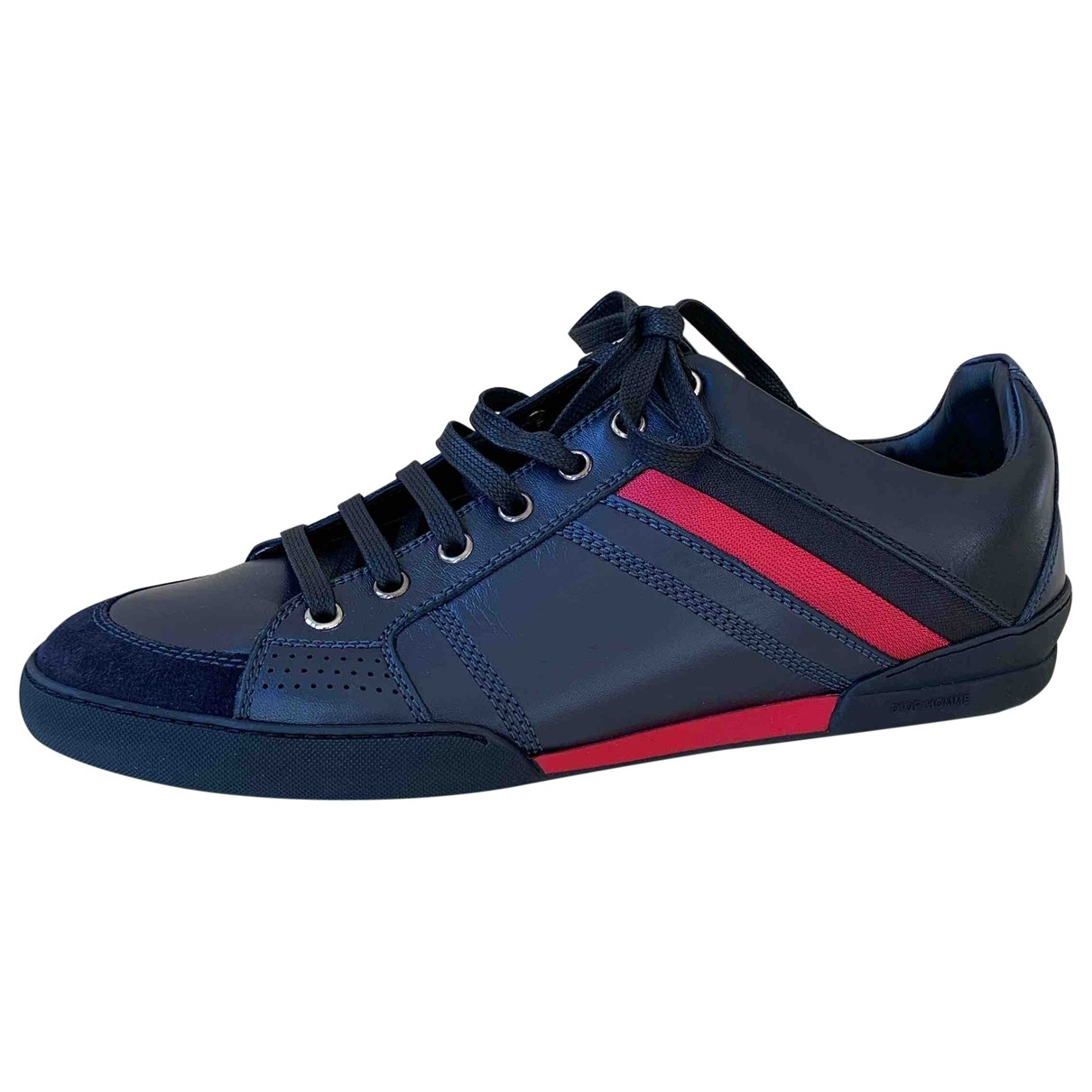 Dior Homme B18 Navy Leather Trainers for Men 40 EU