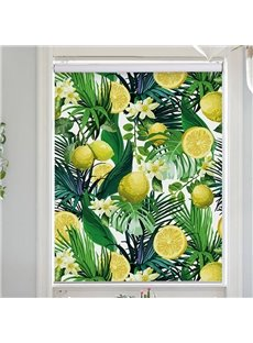 Modern Decor Green Palm Leaves and Yellow Lemon Printing Flat-Shaped Roman Shades