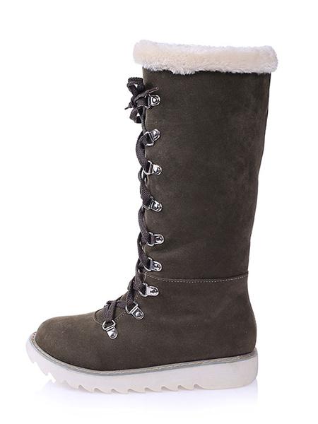 Milanoo Women's Winter Boots Suede Ecru White Round Toe Lace Up Flat Boots