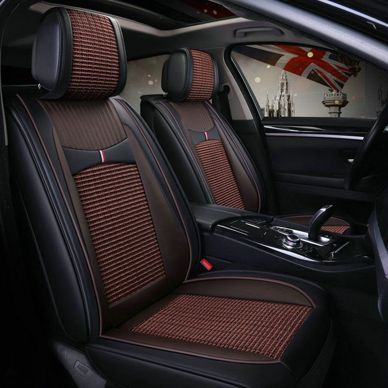 Net Cloth Material Vintage Design Classic Leather Universal Car Seat Covers