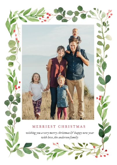 Christmas Photo Cards Flat Glossy Photo Paper Cards with Envelopes, 5x7, Card & Stationery -Christmas Border Foliage by Tumbalina