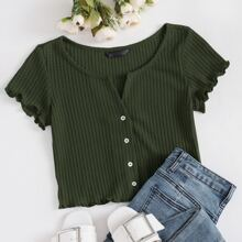 Lettuce Edge Button Front Waffle Knit Top
