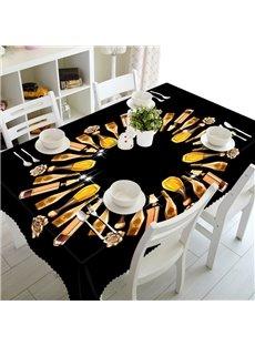 Black Modern Fashion Perfume Prints Design Dining Room Decoration 3D Tablecloth