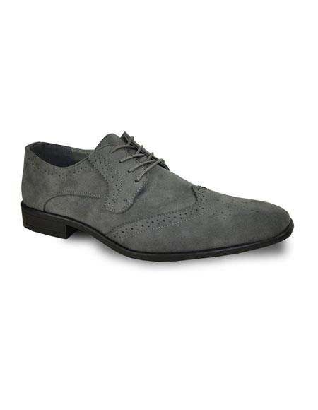 Men's Tuxedo Lace Up Grey Suede Shoes