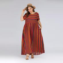 Plus Multicolor Striped Maxi Dress