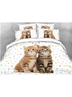 Two Cats Staring Somewhere Printed Cotton 3D 4-Piece Bedding Sets/Duvet Covers