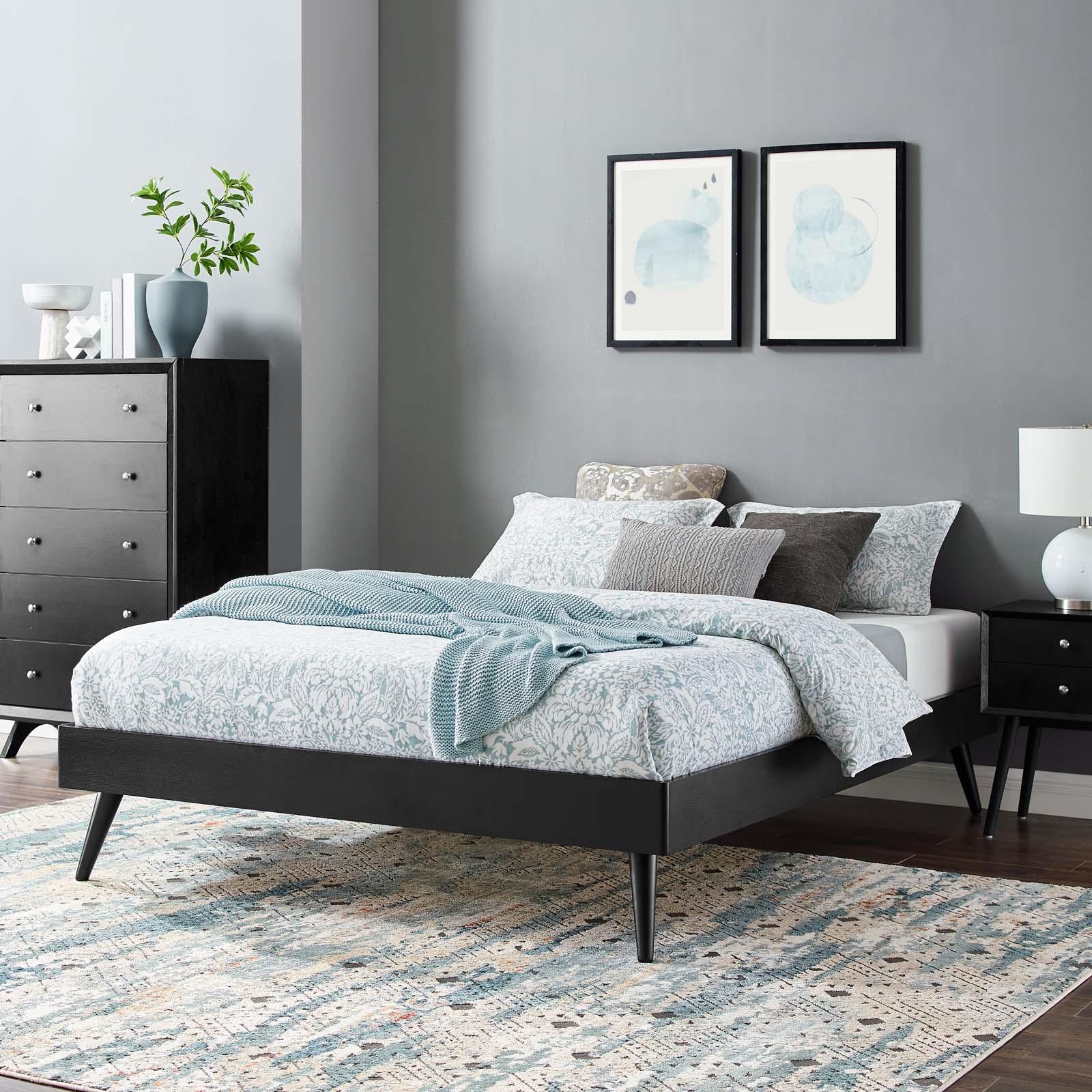 Margo Twin Wood Platform Bed Frame in Black
