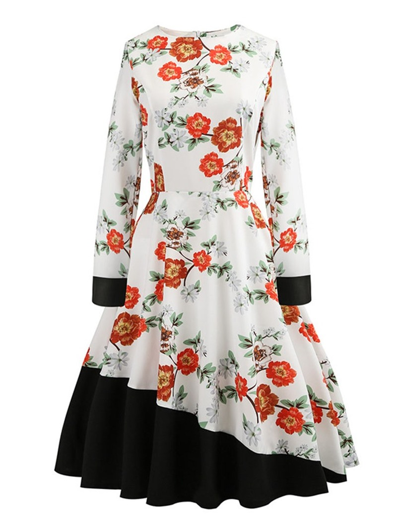 Ericdress Mid-Calf Patchwork Round Neck Vintage Floral Dress