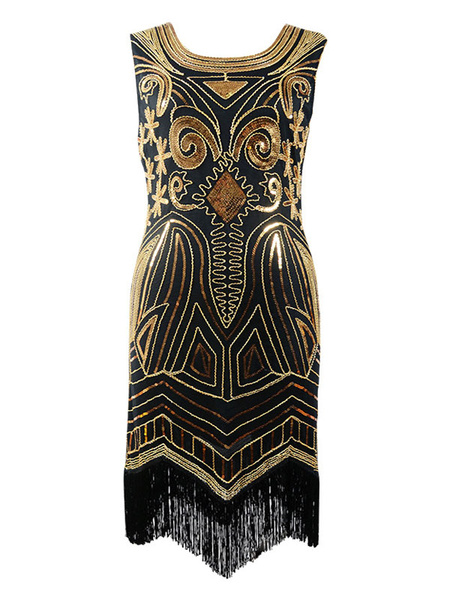 Milanoo Great Gatsby 1920s Fashion Two Tone Women's Champagne Sequined Flapper Dress Charleston Dress Vintage Party Dress