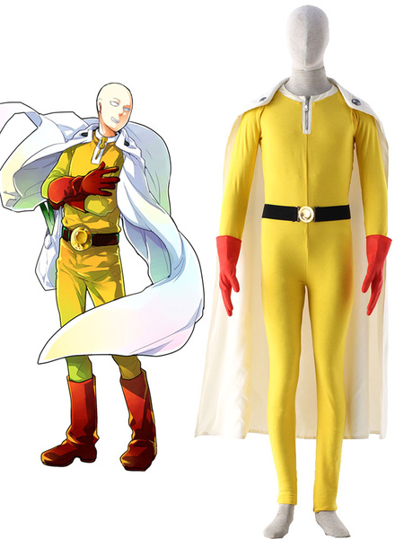 Milanoo One Punch Man Caped Baldy Saitama Fighting Uniform Anime Cosplay Costume Halloween