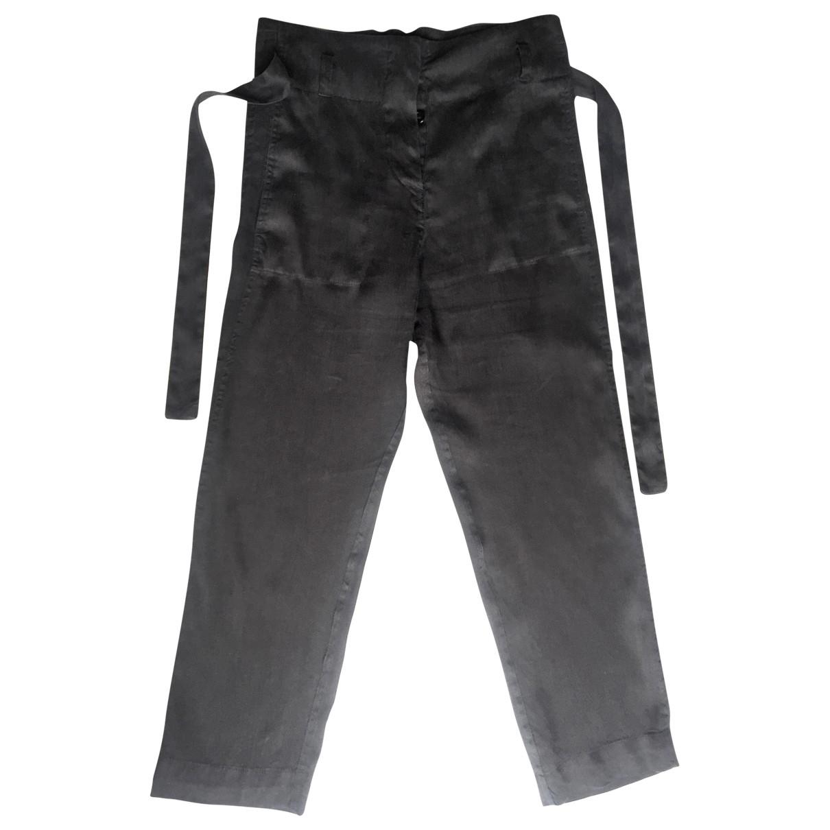 Isabel Marant Etoile \N Black Linen Trousers for Women 36 FR