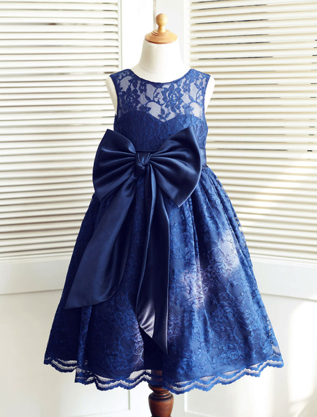 Milanoo Lace Flower Girl Dress Ribbon Big Bow Illusion Neckline Ankle-Length Toddler's Pageant Dress