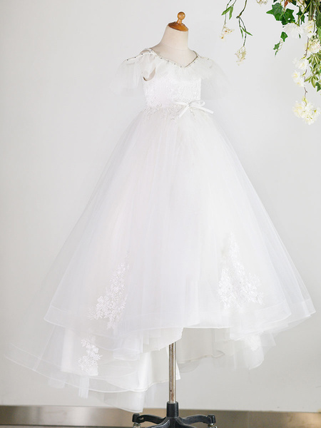 Milanoo Flower Girl Dresses V Neck Tulle Short Sleeves Floor Length Princess Silhouette Bows Kids Social Party Dresses