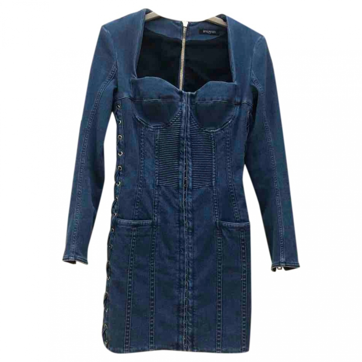Balmain \N Blue Cotton dress for Women 36 FR